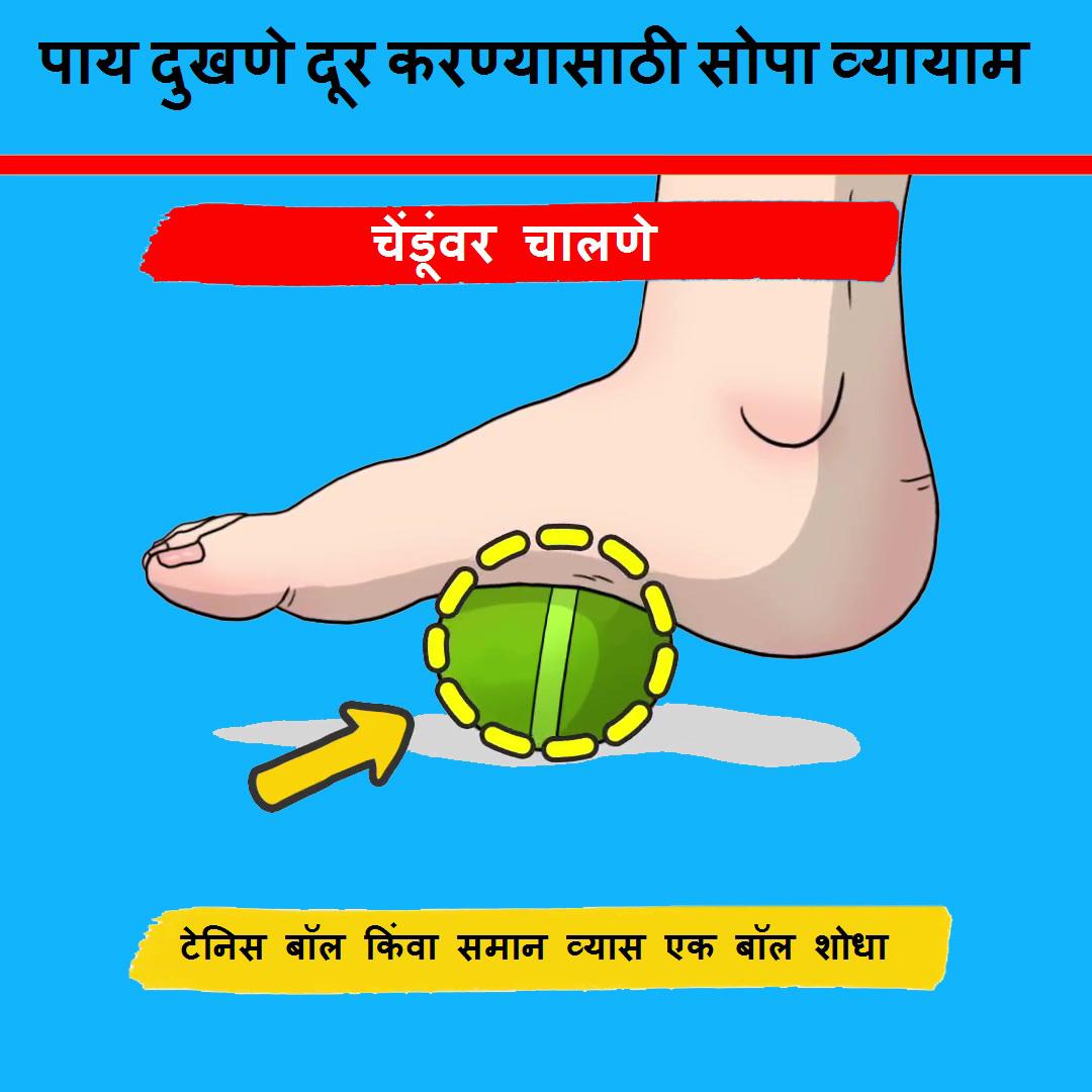 पाय दुखणे दूर करण्यासाठी सोपा व्यायाम (चेंडूवर  चालणे)